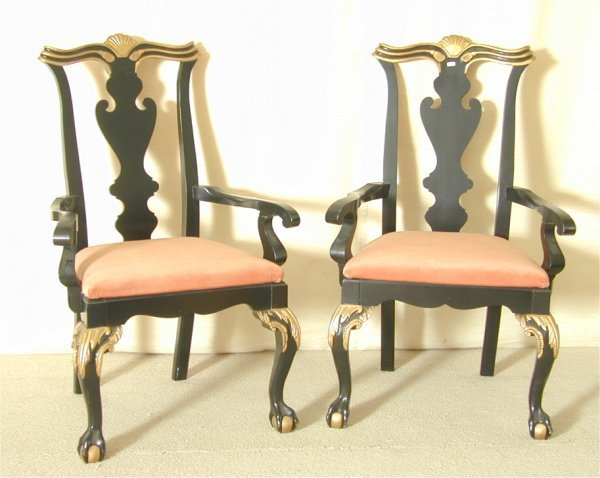 5010: PR CHIPPENDALE OPEN ARM CHAIRS W/BALL & CLAW FEET