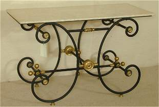 IRON FRENCH BAKER'S TABLE W/MARBLE TOP & BRASS AC
