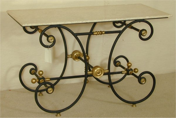 5011: IRON FRENCH BAKER'S TABLE W/MARBLE TOP & BRASS AC