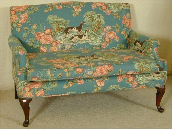5012: QUEEN ANN STYLE LOVE SEAT W/DOG & FLORAL UPHOLS 5