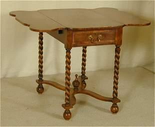 WALNUT DROP LEAF LAMP TABLE W/STRETCHER BASE & RO