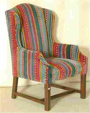 CHIPPENDALE SM WINGBACK CHAIR W/STRIPED CORDUROY