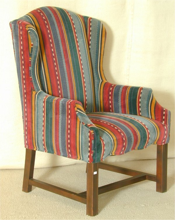 5014: CHIPPENDALE SM WINGBACK CHAIR W/STRIPED CORDUROY