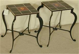 PR HAND FORGED IRON TABLES W/HNDMD FACE TILES BY