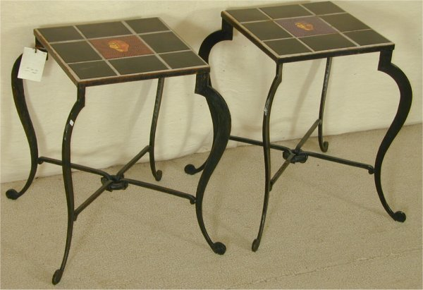 5015: PR HAND FORGED IRON TABLES W/HNDMD FACE TILES BY