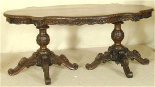 BURLED WALNUT DOUBLE PEDESTAL LIBRARY TABLE W/CAR