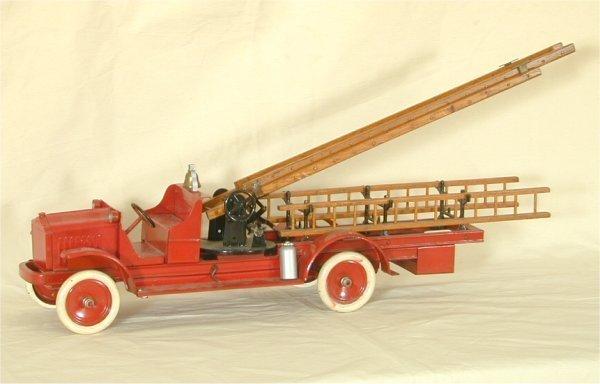 "5197: PRESSED STEEL RED LADDER FIRE TRUCK, RESTORED 36"""