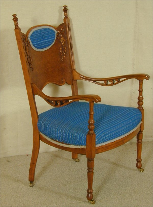 5502: BIRDSEYE MAPLE TURN OF THE CENTURY OPEN CHAIR W/U