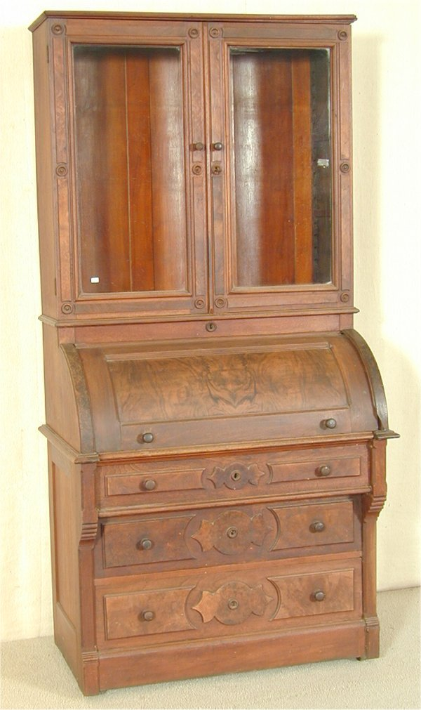 5508: WALNUT VICTORIAN CYLINDER DESK W/GLASS DOOR BOOKC
