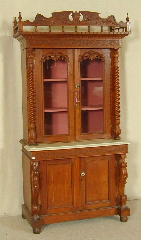 5510A: ENGLISH MAHOGANY VICT 2 PART 4 DOOR CUPBOARD W/R