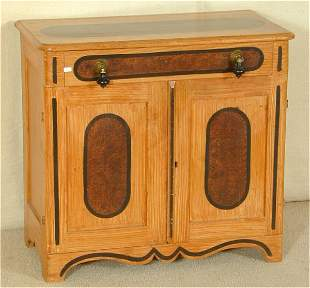 MAPLE VICTORIAN GRAIN PAINTED ONE DRWR WASHSTAND