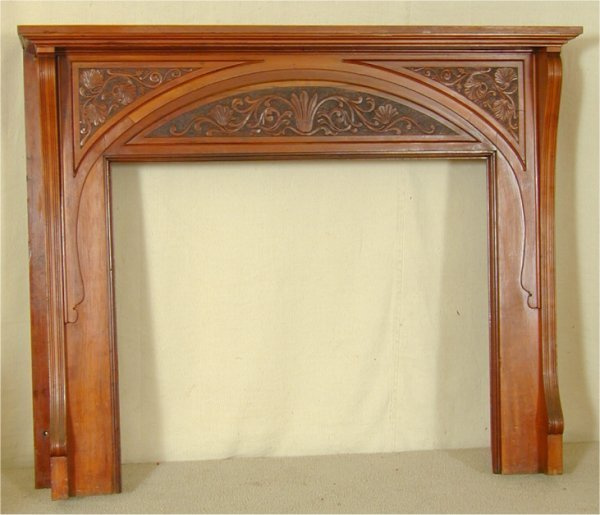 5846: CHERRY VICTORIAN MANTEL W/BURNTWOOD LEAF CARVED P