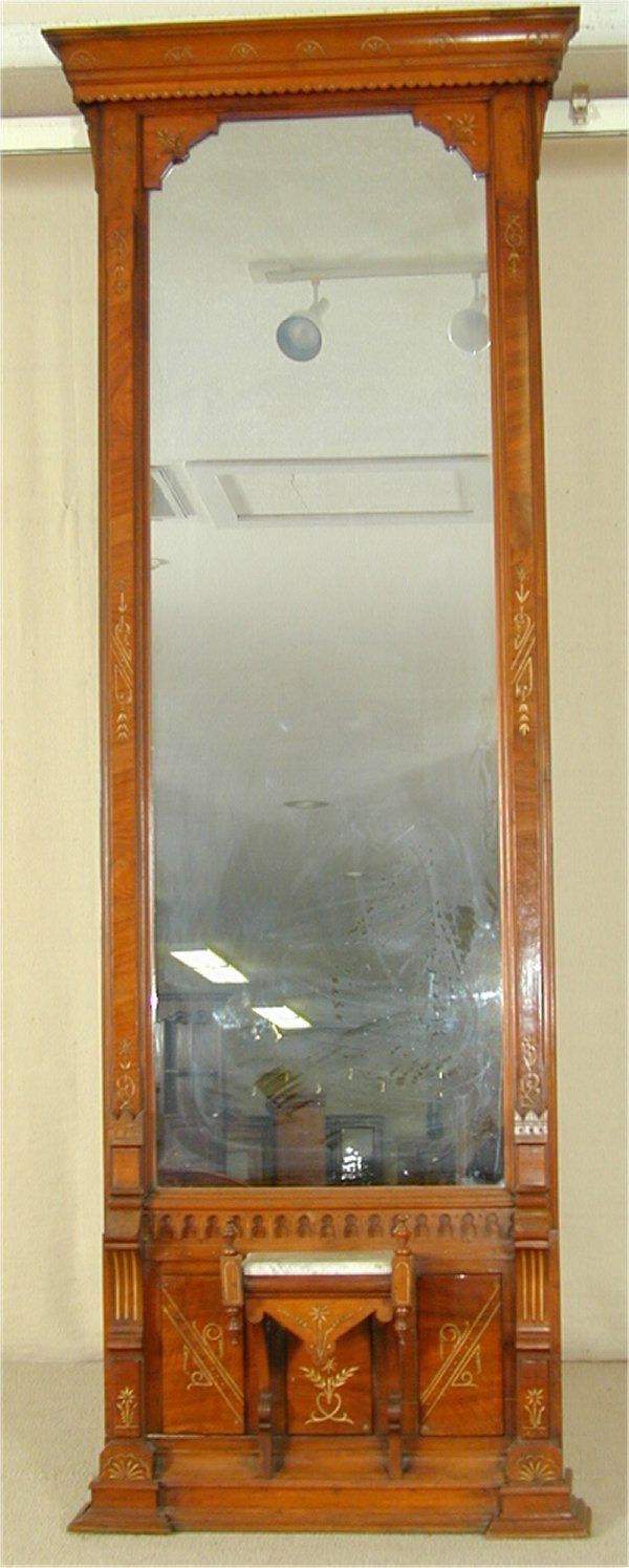 6038: WALNUT EASTLAKE VICTORIAN PIER MIRROR W/MARBLE TO