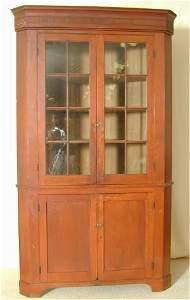 6084: CHERRY CORNER CUPBOARD W/16 PANE ORIG GLASS