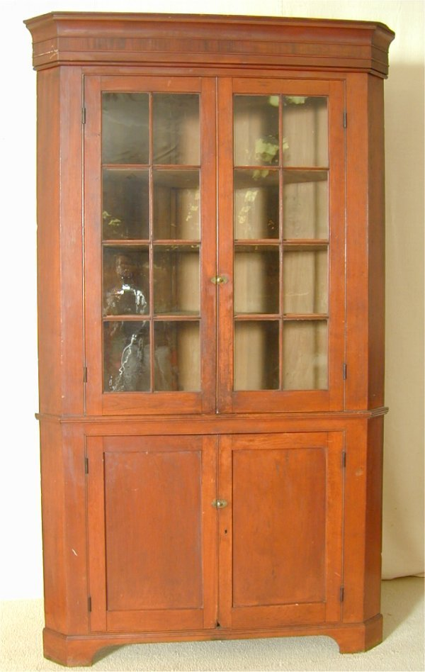 6084: CHERRY CORNER CUPBOARD W/16 PANE ORIG GLASS