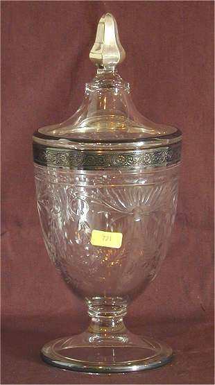 HEISEY 1183 REVERE 1# COV CANDY W/SILVER OVERLAY &