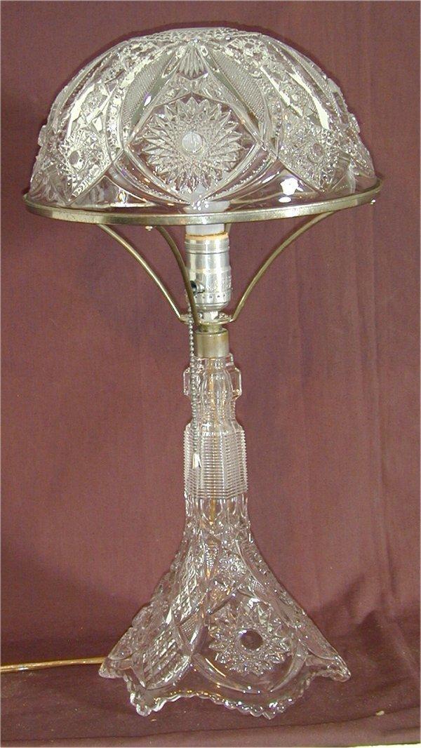"5002: PATTERN GLASS BANQUET LAMP W/PRISMS 20""H"