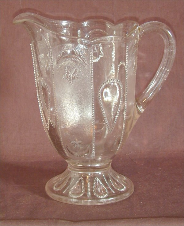 """5007: PATTERN GLASS FTD WATER PITCHER 8 1/2"""" H"""
