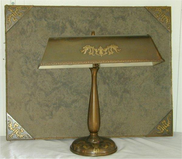 """5015: BRASS DESK LAMP 17""""H W/MATCHING BLOTTER DESK PAD"""