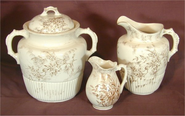 5002: 3 PC ENGLISH IRONSTONE WASTE BOWL & (2) PITCHERS,