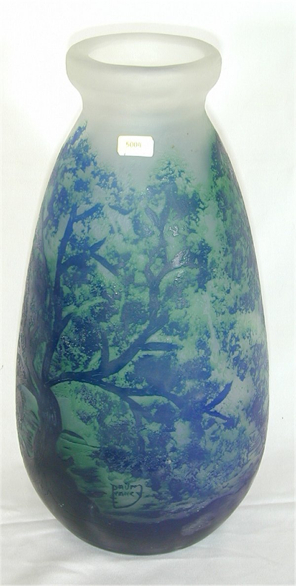 "5004: SIGNED DAUM NANCY REPRO GLASS VASE 14""H"