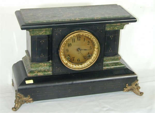5007: ANSONIA BLACK MANTEL CLOCK W/GREEN MARBLEIZED FIN