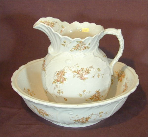 "5008: 2 PC RIDGEWAY IRONSTONE WASHBOWL & PITCHER ""BALTI"