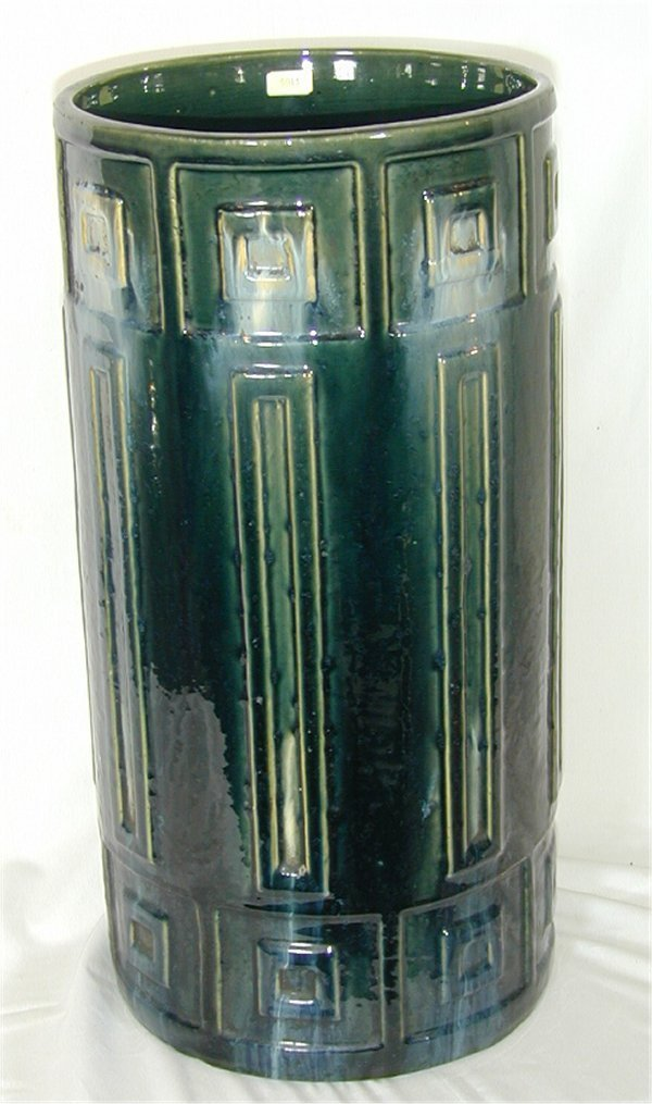 5013: ARTS & CRAFTS GREEN POTTERY UMBRELLA STAND MARKED
