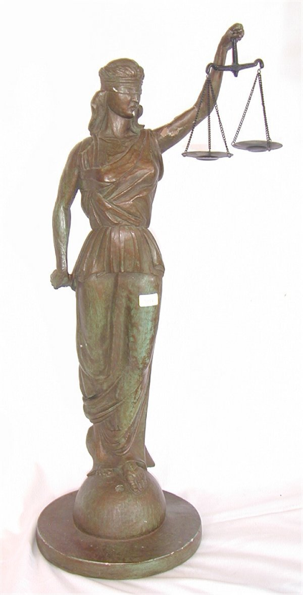 "5014: PLASTER FIGURE BLIND JUSTICE, X TO ARM 24""H"