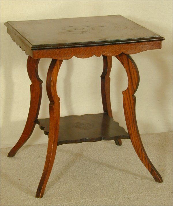 5016: SQUARE OAK 2 TIER PARLOR TABLE, MINOR X TOP FINIS