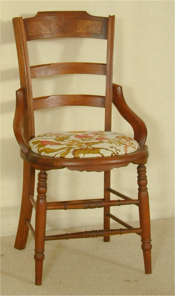 5017: WALNUT VICT HIP REST SIDE CHAIR
