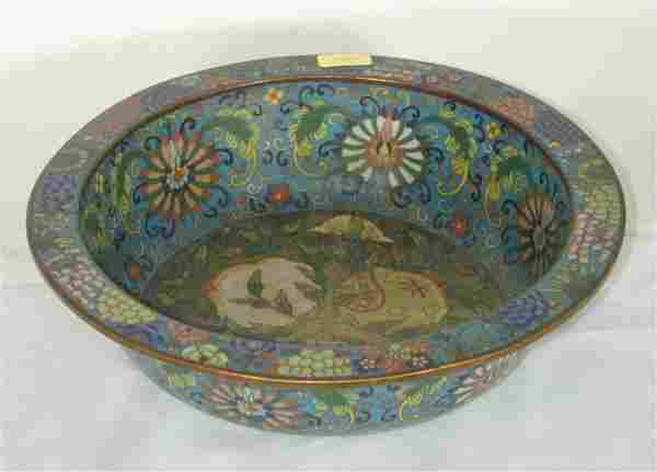 """CHINESE CLOISONNE RIMMED BOWL 9"""" DIAM"""