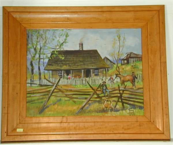 5318: BENTON CLARK OIL ON BOARD LOG CABIN HOMESTEAD SNG