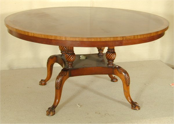 5410: WALNUT RND DINING TABLE W/BALL & CLAW FT BASE 60""