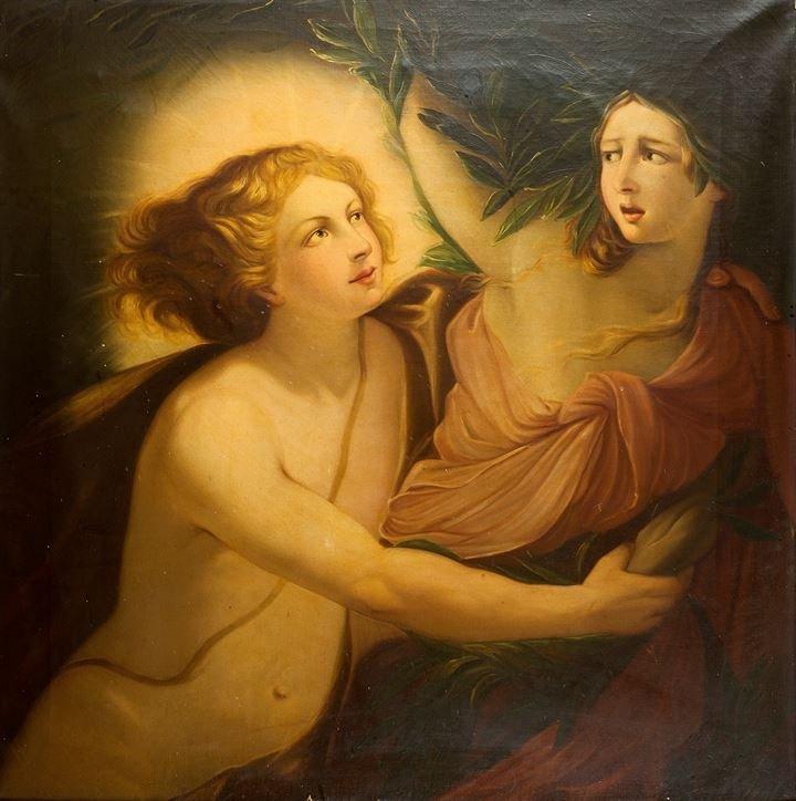 """PITTORE ANONIMO DELL'800 """"Scena mitologica"""" 105x103olio"""