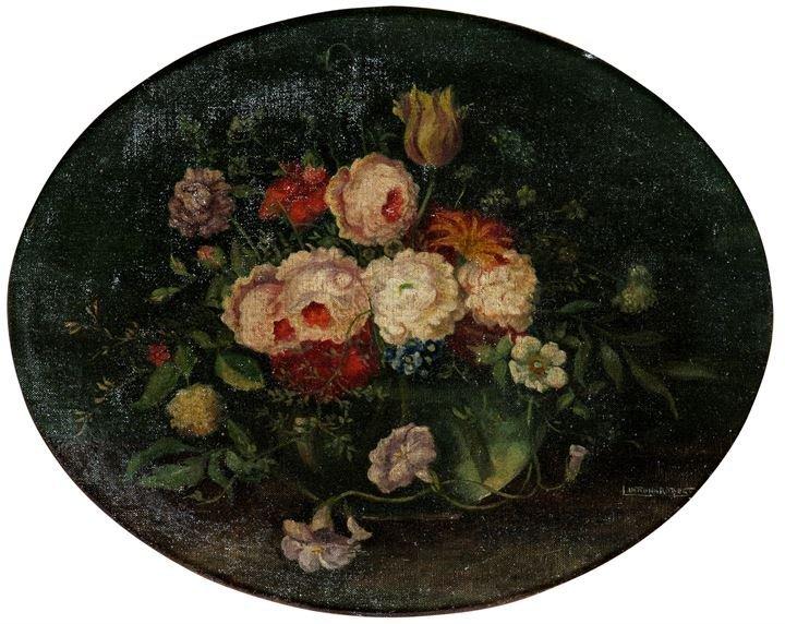 """PITTORE ANONIMO DELL'800 """"Vaso di fiori"""" 49x39 (ovale)"""