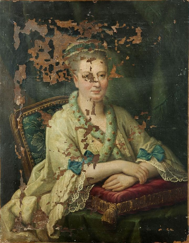 """PITTORE ANONIMO """"Ritratto di dama"""" 92x73 olio su tela"""
