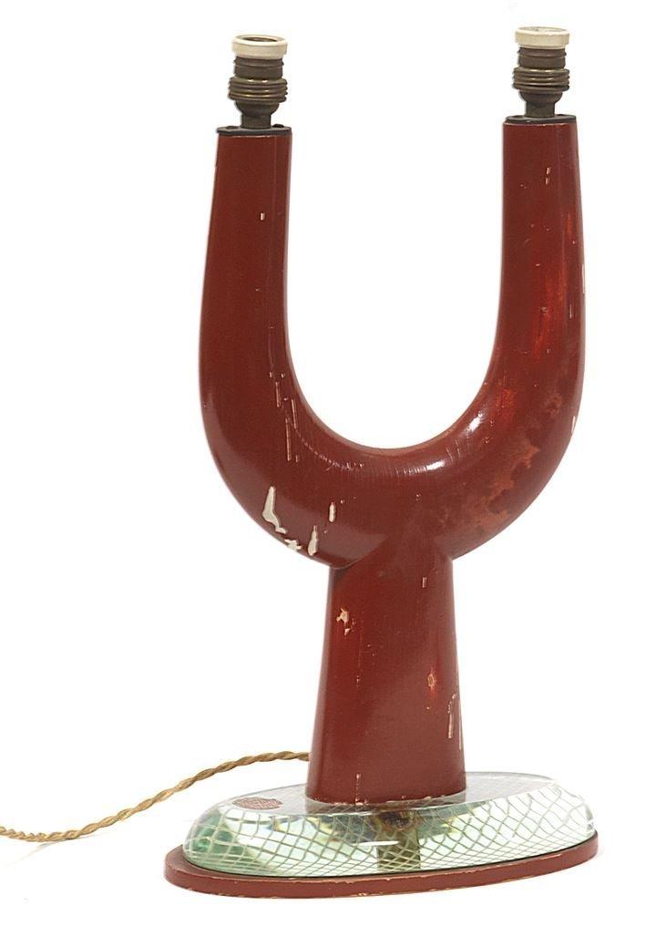 CHIESA PIETRO Lampada da tavolo a due luci in legno