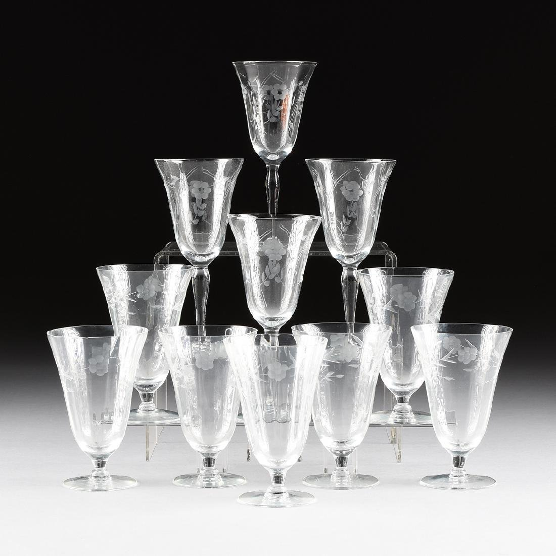 A SET OF ELEVEN CONTINENTAL ENGRAVED OPTIC CRYSTAL