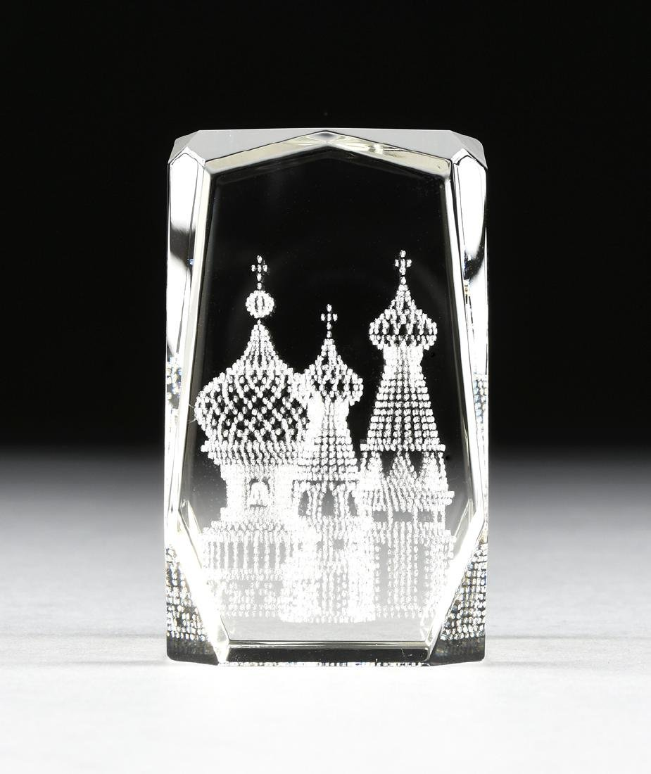 A RUSSIAN CONTROLLED BUBBLE GLASS PAPERWEIGHT, 2OTH