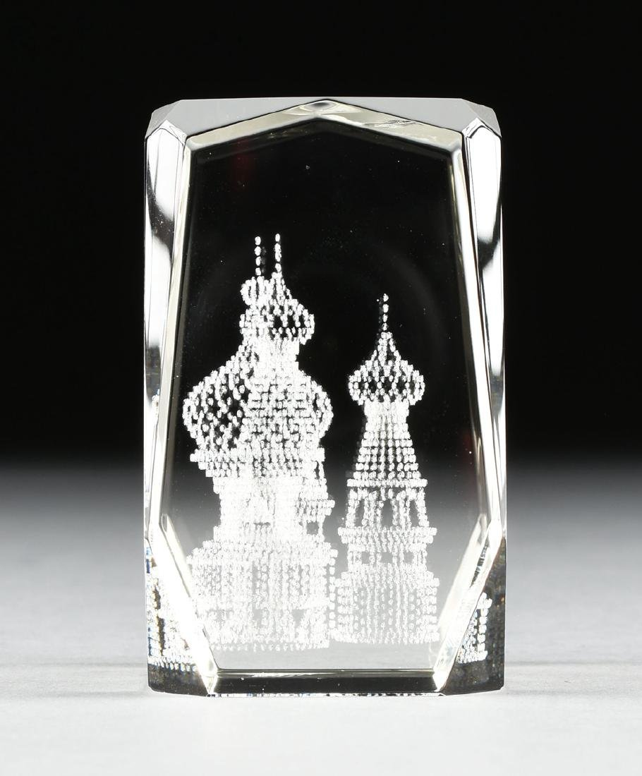 A RUSSIAN CONTROLLED BUBBLE GLASS PAPERWEIGHT, 2OTH - 2