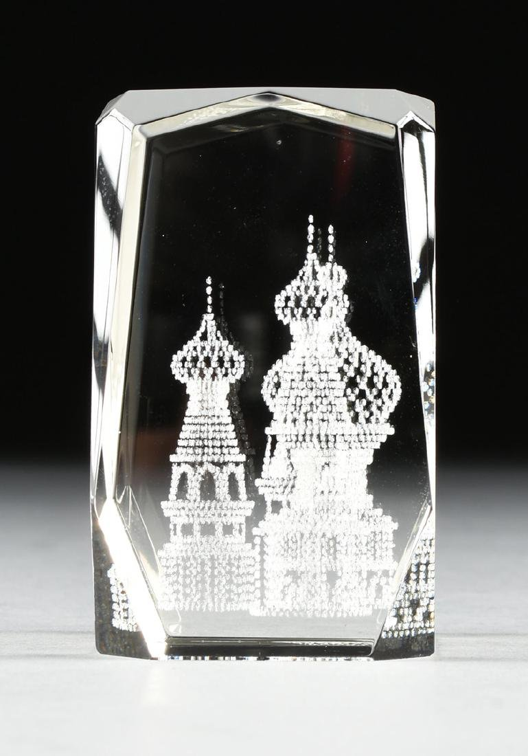 A RUSSIAN CONTROLLED BUBBLE GLASS PAPERWEIGHT, 2OTH - 4