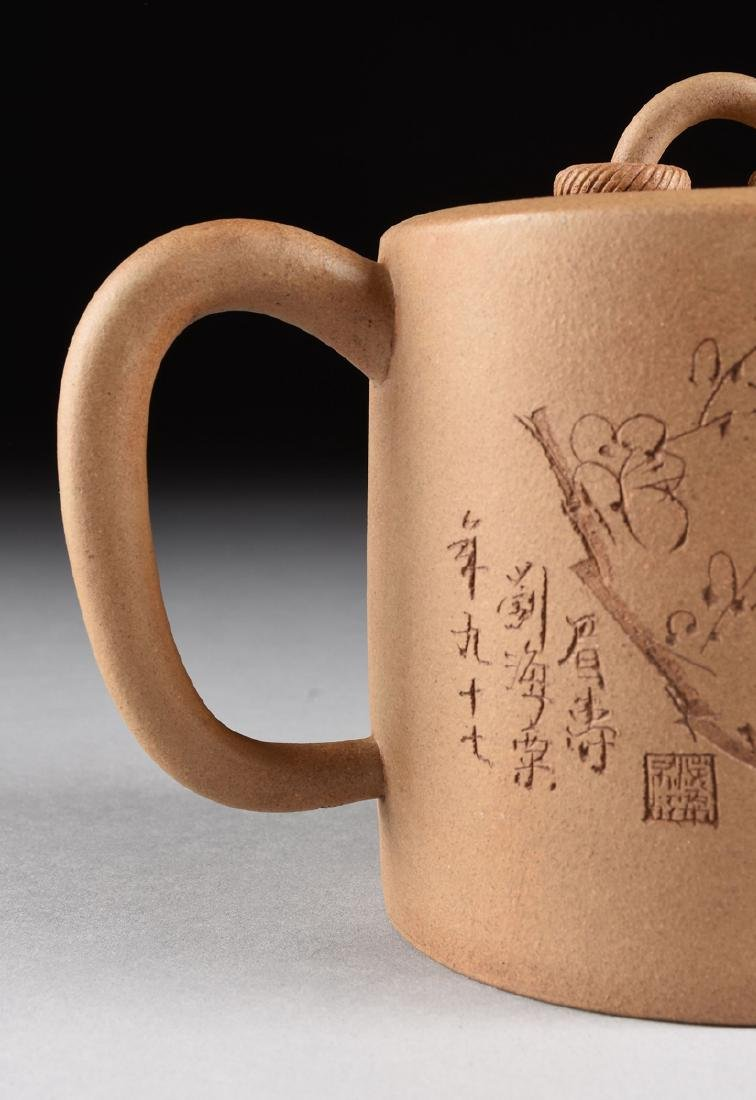 A CHINESE TAN STONEWARE TEAPOT, YIXING PROVINCE, LATE - 2