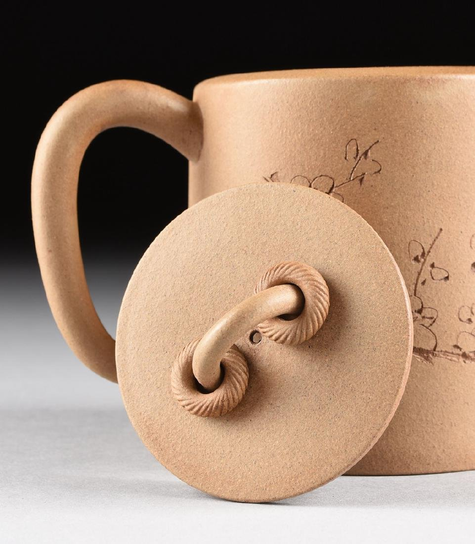 A CHINESE TAN STONEWARE TEAPOT, YIXING PROVINCE, LATE - 5
