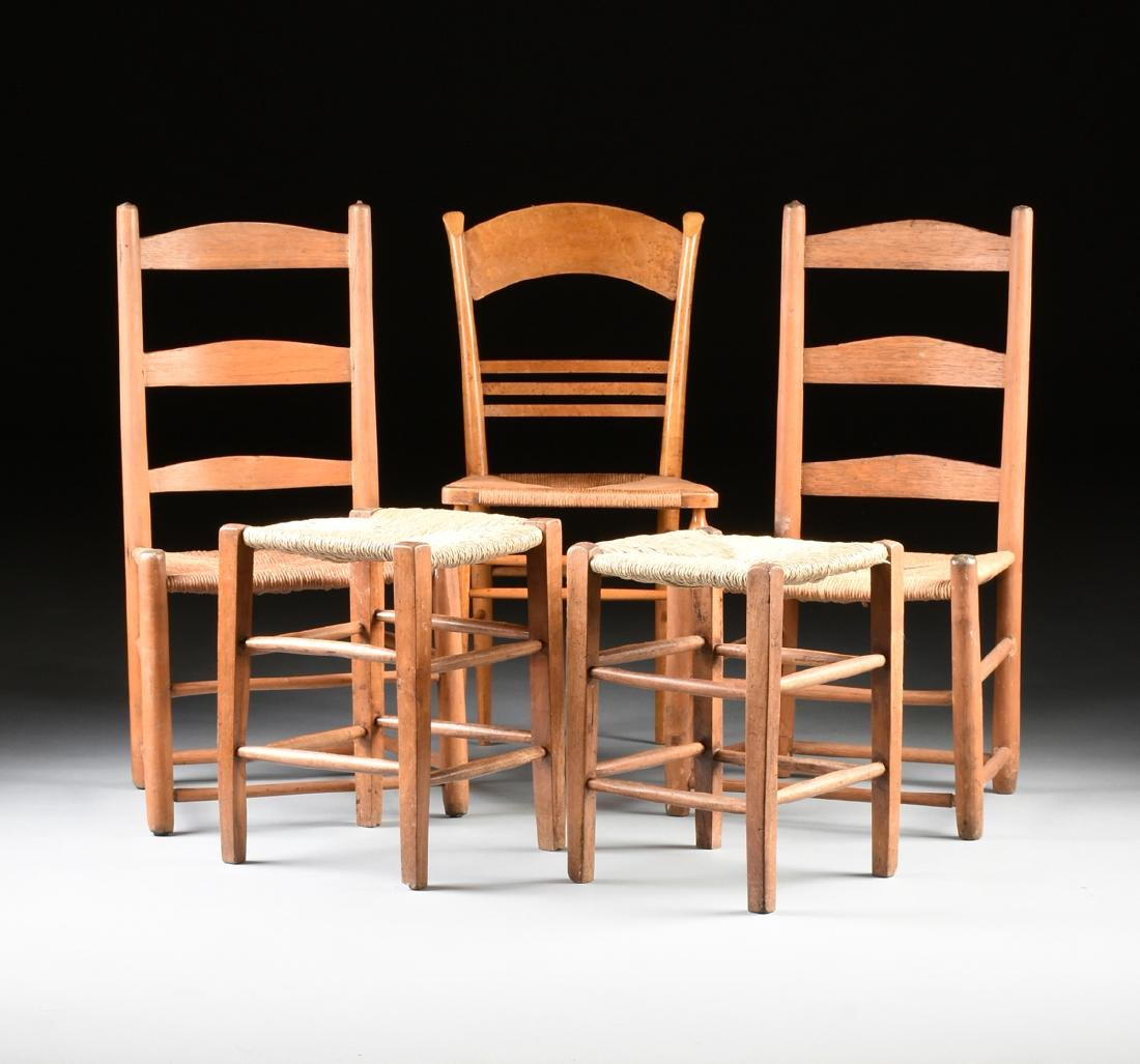 A GROUP OF THREE CHAIRS AND TWO STOOLS,