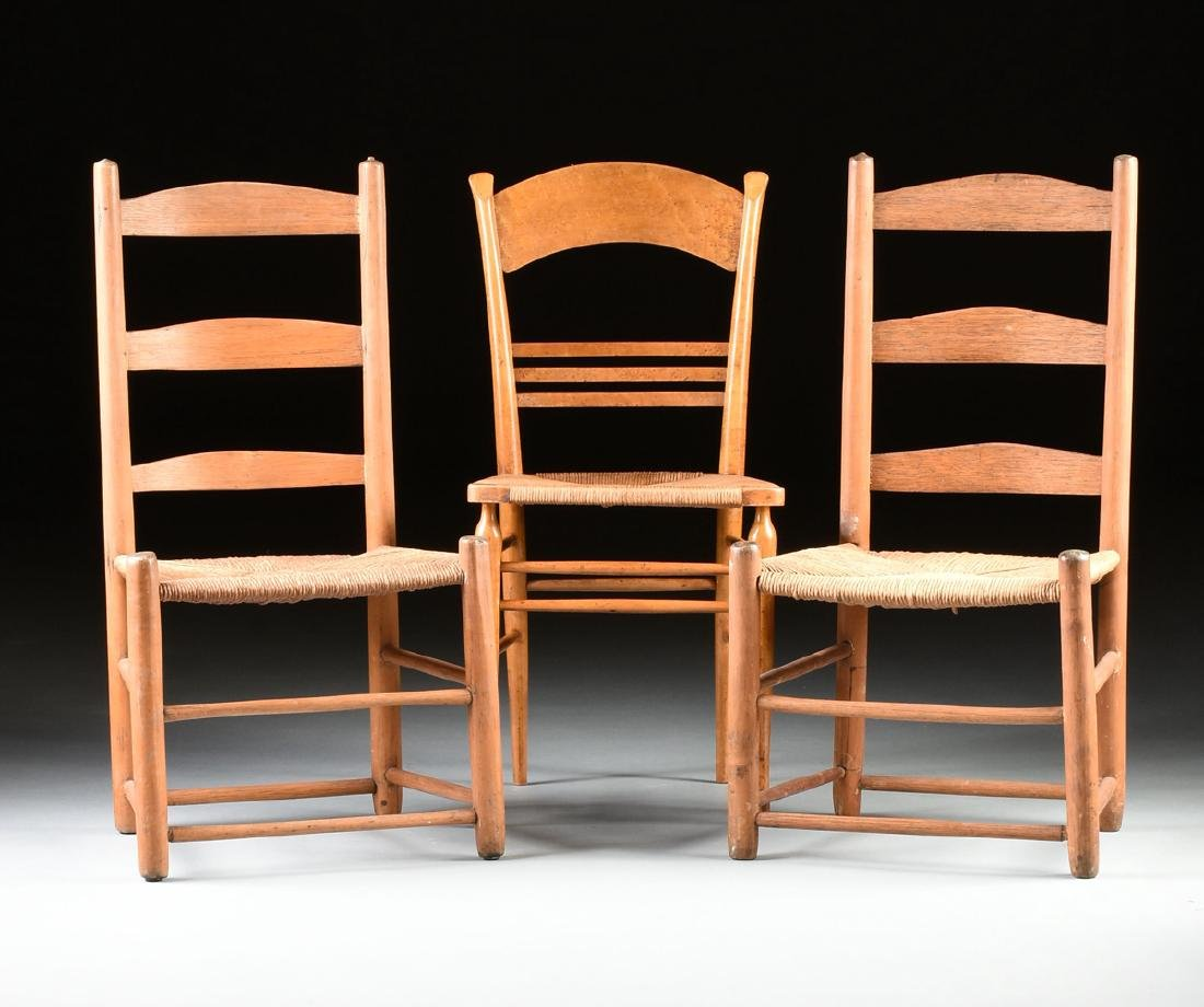 A GROUP OF THREE CHAIRS AND TWO STOOLS, - 2