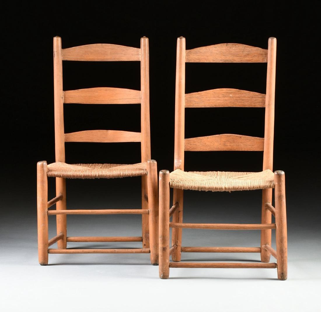 A GROUP OF THREE CHAIRS AND TWO STOOLS, - 6