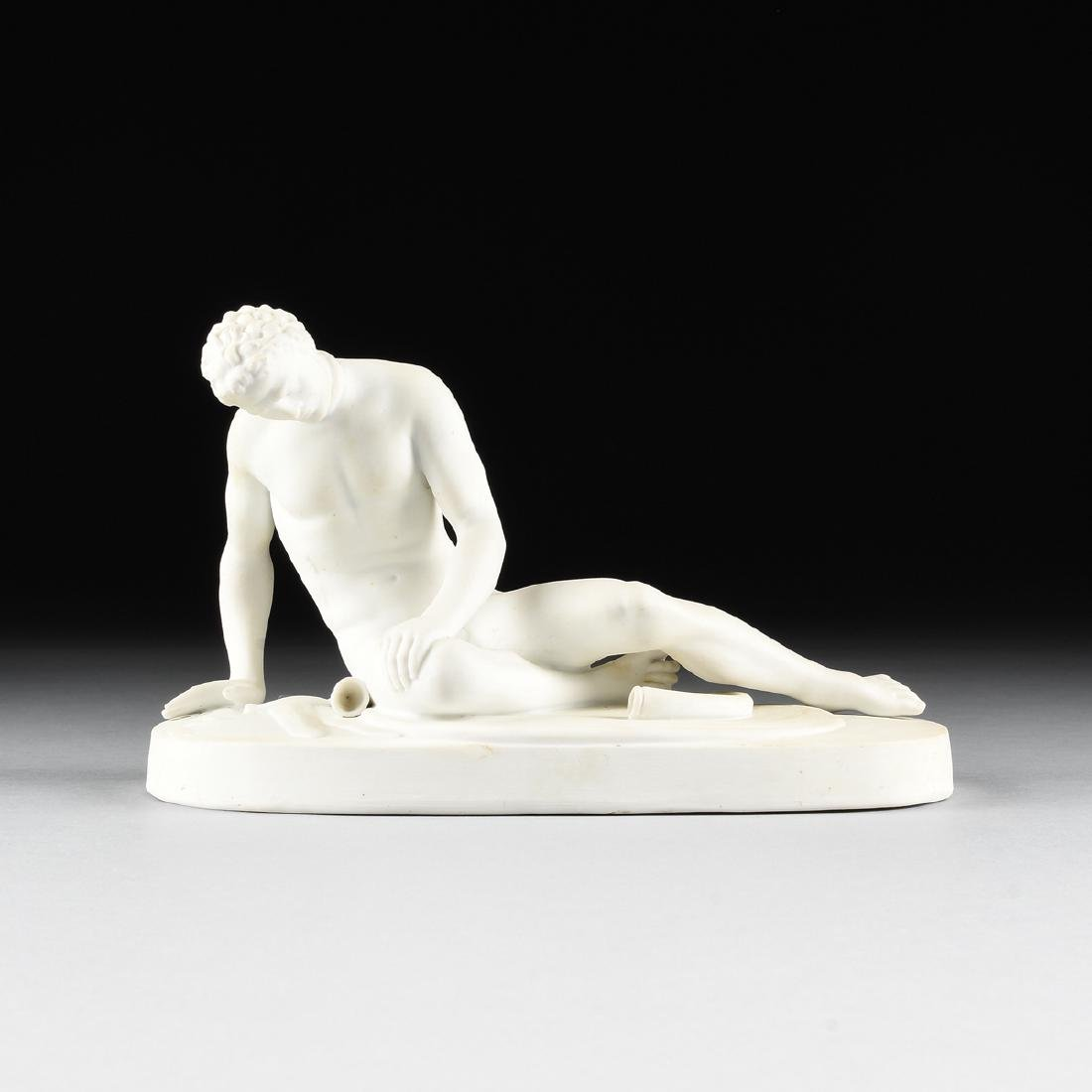 "A GERMAN BISQUE PORCELAIN FIGURE OF ""THE DYING GAUL,"