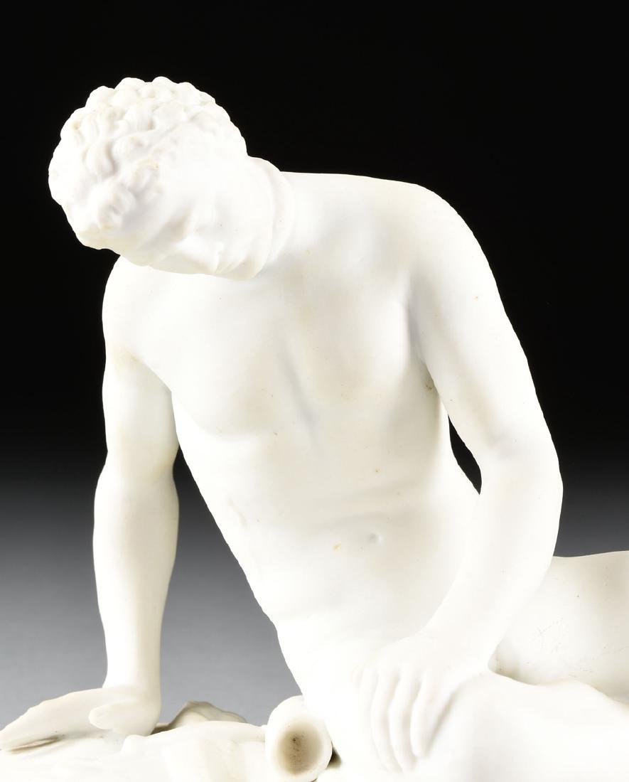 "A GERMAN BISQUE PORCELAIN FIGURE OF ""THE DYING GAUL, - 2"