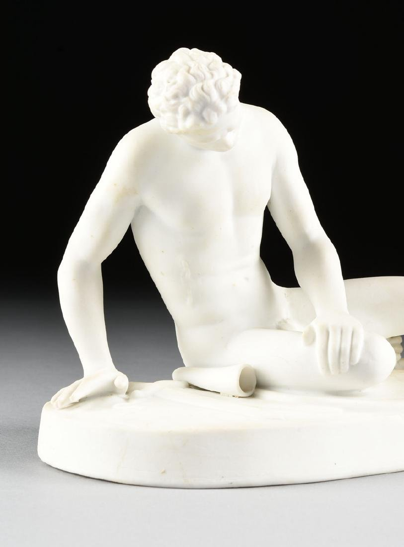 "A GERMAN BISQUE PORCELAIN FIGURE OF ""THE DYING GAUL, - 7"